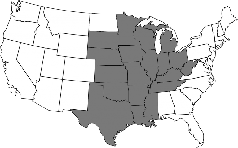 Map of the United States with the states that are part of the MZSS shaded